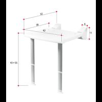 כסא מקלחת מתקפל לקיר עם רגליות גב וידיות YM780-1